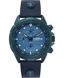 Men's Chronograph 6E Arrondissement Blue Leather Strap Watch 46mm