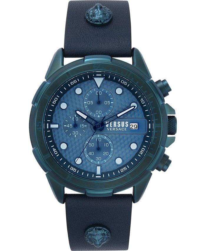 Versus by Versace - Men's Chronograph 6E Arrondissement Blue Leather Strap Watch 46mm