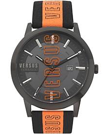Men's Barbes Solar Black & Orange Canvas Strap Watch 44mm
