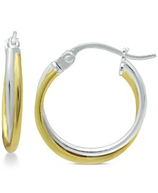 Extra Small Overlap Hoop Earrings in Sterling Silver and 18k Gold-Plate, 15mm, Created for Macy's