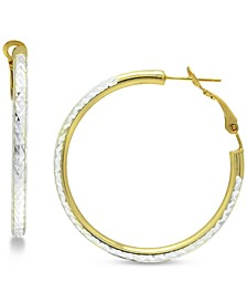 """Medium Two-Tone Textured Hoop Earrings in Sterling Silver & 18k Gold-Plate, 1-1/2"""", Created for Macy's"""
