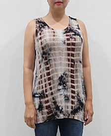 Women's Tie Dye Button Back Tank Top