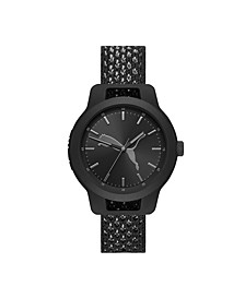 Reset V1 Three-Hand Reversible Black and Gray Knit Watch 43mm