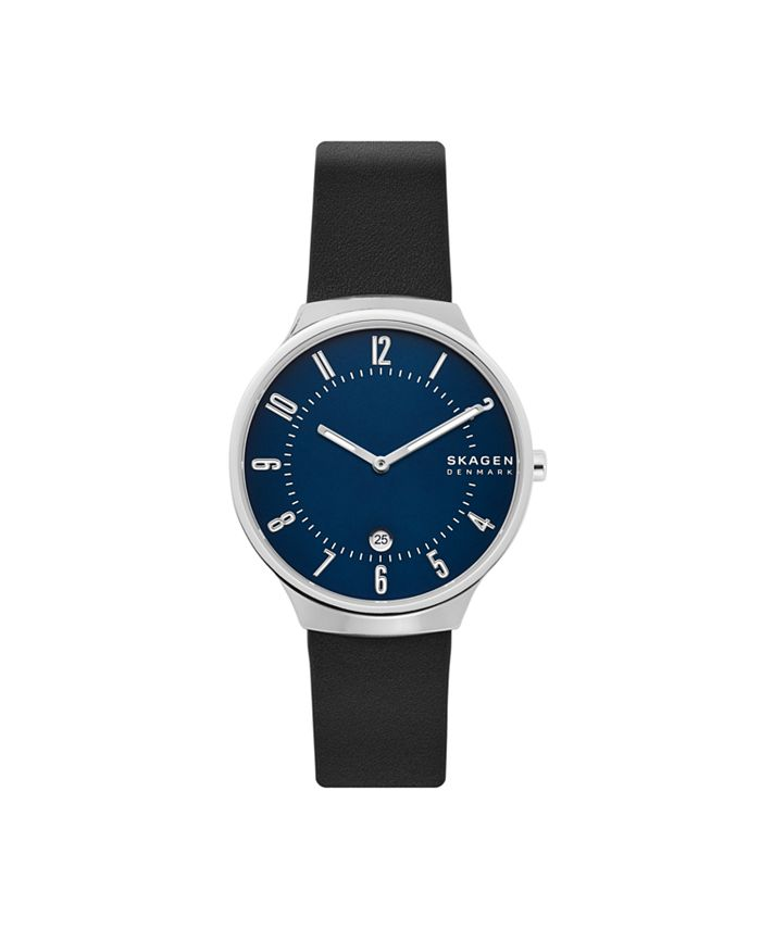 Skagen - Men's Grenen Stainless Steel Black Leather Blue Dial Watch 38mm