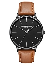 Men's 3 Hands Slim Black plated Stainless Steel Watch on Brown Genuine Leather Strap, 42mm