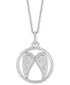 "Angel Wing Blessings pendant (1/10 ct. t.w.) in Sterling Silver, 16"" + 2"" extender"
