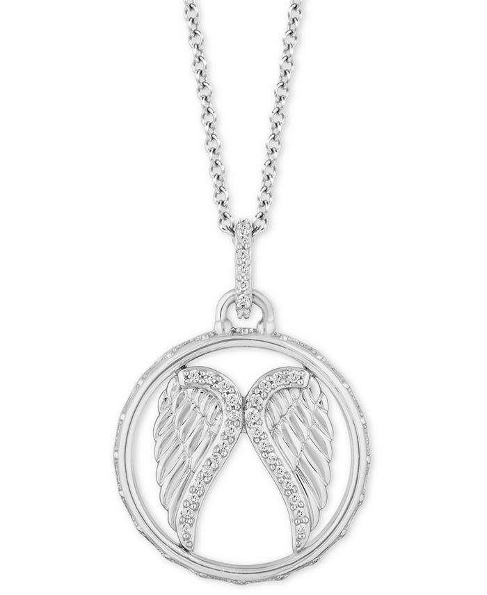 "Hallmark Diamonds - Diamond Angel Wing Pendant Necklace (1/10 ct. t.w.) in Sterling Silver, 16"" + 2"" extender"