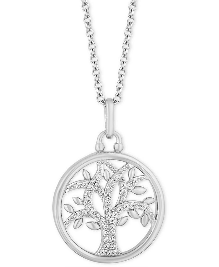 "Hallmark Diamonds - Diamond Family Tree Pendant Necklace (1/6 ct. t.w.) in Sterling Silver, 16"" + 2"" extender"