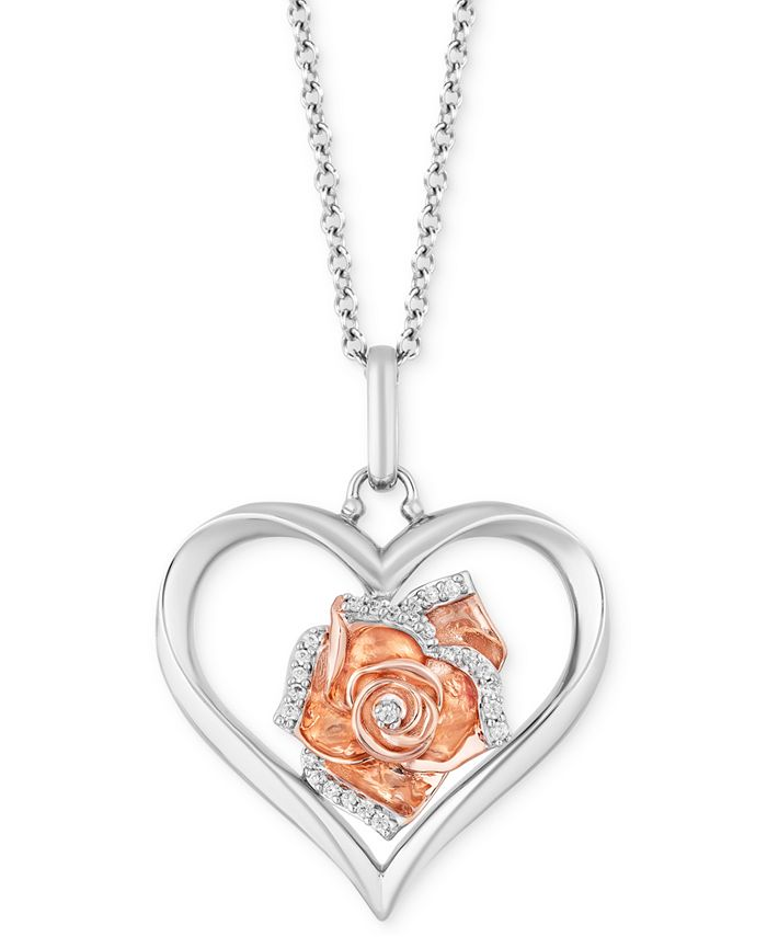 "Hallmark Diamonds - Diamond Heart Rose Pendant Necklace (1/20 ct. t.w.) in Sterling Silver & 14k Rose Gold, 16"" + 2"" extender"