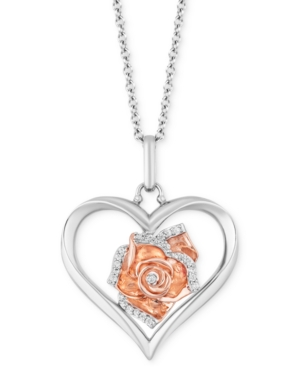 Heart Rose Love pendant (1/20 ct. t.w.) in Sterling Silver & 14k Rose Gold