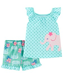 Toddler Girls 2-Pc. Elephant Top & Shorts Pajamas Set