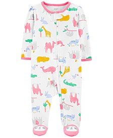 Baby Girls 1-Pc. Zoo Animals Cotton Coverall