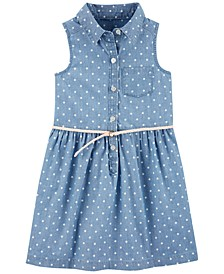 Toddler Girls Chambray Dot-Print Shirtdress
