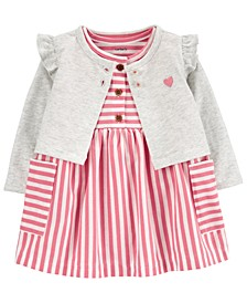 Baby Girls 2-Pc. Striped Cotton Dress & Cardigan Sweater Set