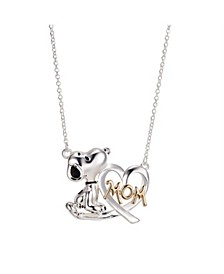 "Gold Flash Plated ""Mom"" Snoopy and Heart Necklace, 16""+2"" Extender"