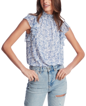 Image of 1.state Calico Fans Flutter-Sleeve Top
