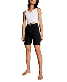 High Stretch Denim Bermuda Shorts