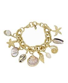 Mermaid Tears Shell and Gold - Tone Bracelet