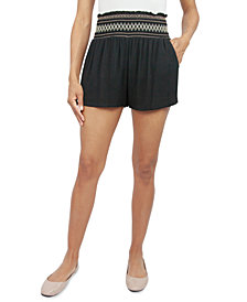 Be Bop Juniors' Solid Smocked-Waist Shorts