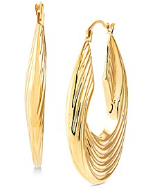 Swirled Ridge Hoop Earrings in 14k Gold