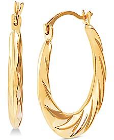 Small Swirl Hoop Earrings in 14k Gold