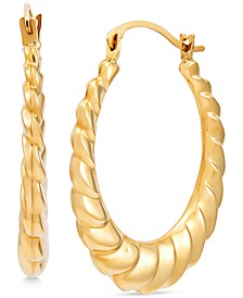 Swirled Rib Hoop Earrings in 14k Gold
