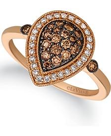 Chocolatier® Chocolate Diamond (1/3 ct. t.w.) & Vanilla Diamond (1/6 ct. t.w.) Teardrop Halo Statement Ring in 14k Rose Gold