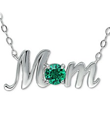 "Swarovski Crystal Birth Month ""Mom"" Pendant Necklace  in Sterling Silver, 16"" + 2"" extender, Created for Macy's"