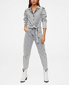Flecked Denim Jumpsuit
