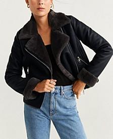 Faux Fur Lapels Biker Jacket
