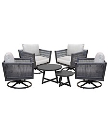 Braxtyn Outdoor 5-Pc. Seating Set (4 Swivel Chairs & Round Nesting Coffee Table) with Sunbrella® Cushions, Created for Macy's