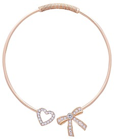 "Gold-Tone Crystal Bow & Heart Collar Necklace, 4-1/2"" diameter"
