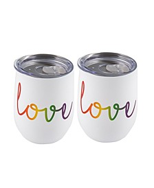 """Double Wall 2 Pack of 12 oz White Wine Tumblers with Metallic """"Love"""" Decal"""