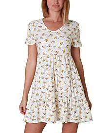 Juniors' Short-Sleeve V-Neck Dress