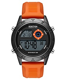 Men's Dress Sport Round Orange Silicon Strap Watch 47mm