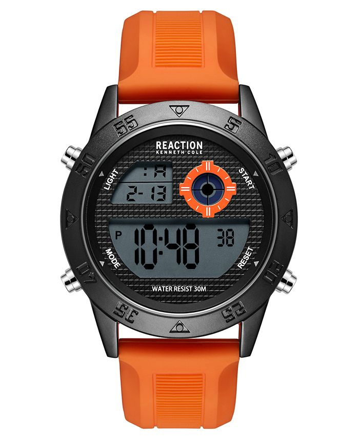 Kenneth Cole Reaction - Men's Dress Sport Round Orange Silicon Strap Watch 47mm