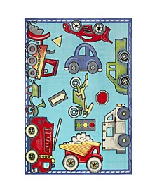 "Recess Cars Blue 1'1"" x 2'11"" Area Rug"