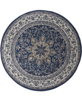 """Haven Hav09 Navy and Ivory 3'3"""" x 3'3"""" Round Rug"""