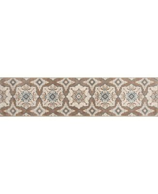 """Haven Hav11 Taupe and Blue 1'9"""" x 7'2"""" Runner Rug"""