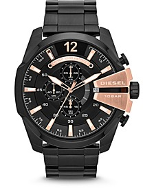 Men's Chronograph Mega Chief Black Stainless Steel Bracelet Watch 51x59mm