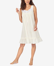 Cotton Swiss Dot Chemise Nightgown