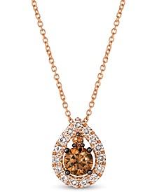"""Chocolate Diamond (1/2 ct. t.w.) & Nude Diamond (1/4 ct. t.w.) Teardrop 18"""" Pendant Necklace in 14k Rose Gold"""