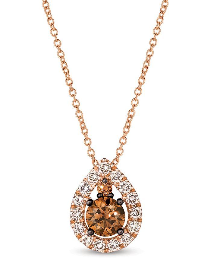 """Le Vian - Chocolate Diamond® (1/2 ct. t.w.) & Nude Diamond™ (1/4 ct. t.w.) Teardrop 18"""" Pendant Necklace in 14k Rose Gold"""