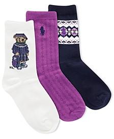 Little & Big Girls 3-Pack Back-to-School Bear Socks