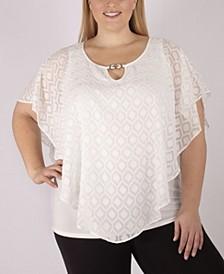 Women's Plus Size Geometric Poncho