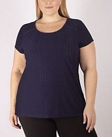 Women's Plus Size Knit Eyelet Top