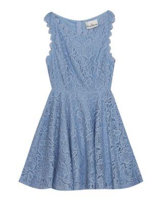 GUESS Kids Girls High Low Fashion Tank 7//8 Size Small White//Blue