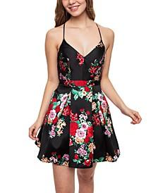 Juniors' Lace-Back Fit & Flare Dress