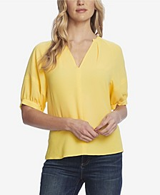 Women's Elbow Sleeve Split Neck Blouse