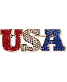 Gold-Tone Pavé Red, White & Blue USA Pin, Created for Macy's